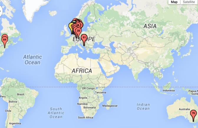 Glutenvrije wereld kaart
